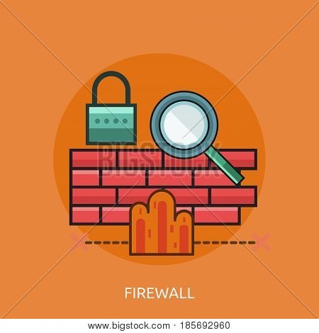 Firewall Conceptual Design | Great flat illustration concept icon and use for technology, Business, Creative Idea, Concept and much more.