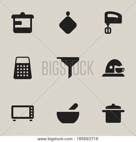 Set Of 9 Editable Cooking Icons. Includes Symbols Such As Cup, Cookware, Shredder And More. Can Be Used For Web, Mobile, UI And Infographic Design.