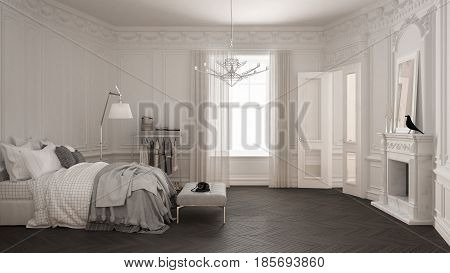 Modern scandinavian bedroom in classic vintage living room with fireplace luxury white and gray interior design, 3d illustration