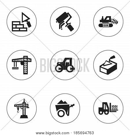Set Of 9 Editable Structure Icons. Includes Symbols Such As Handcart ,  Lifting Equipment, Mule. Can Be Used For Web, Mobile, UI And Infographic Design.