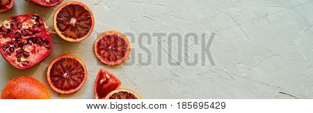 Closeup Of Red Sicilian Blood (bloody) Oranges - Cut And Sliced, Ripe And Tasty With Copy Space For