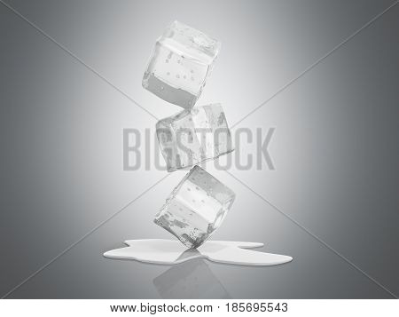 Ice Cubes 3D Render On Grey Background