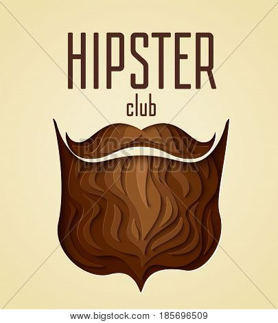 Hipster club concept. 3d paper cut hipster beard with mustache design. Vector illustration.  Paper carving beard with shadow for barber shop