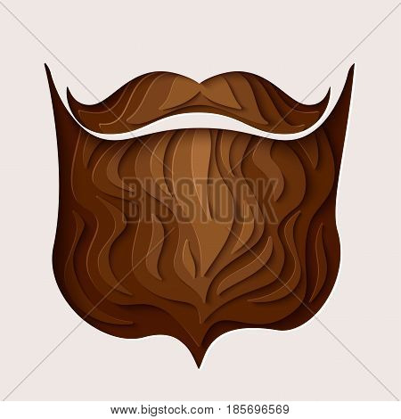 Happy Father's day concept. 3d paper cut hipster beard with mustache design. Vector illustration.  Paper carving beard with shadow