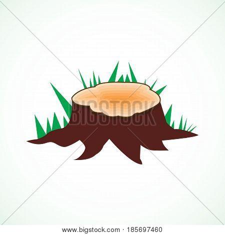 Vector stump on a white background, illustration, design, flat web