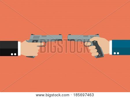Two hands holding handguns Front to front. Business competition concept
