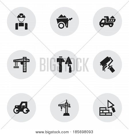 Set Of 9 Editable Structure Icons. Includes Symbols Such As Construction Tools, Handcart , Facing. Can Be Used For Web, Mobile, UI And Infographic Design.