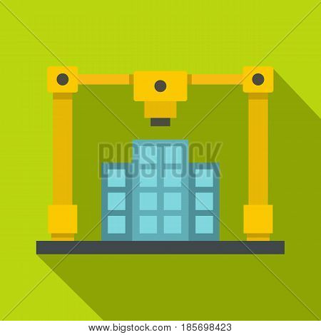 3d printer printing layout of building icon. Flat illustration of 3d printer printing layout of building vector icon for web on lime background