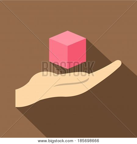 Pink cube 3d model icon. Flat illustration of pink cube 3d model vector icon for web on coffee background