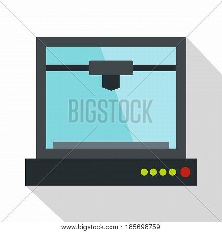3d printer model icon. Flat illustration of 3d printer model vector icon for web on white background
