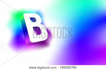 Abstract Letter B. Template of creative glow 3D logo corporate identity of company or brand name letter B. White letter abstract, multicolored, gradient, blurred background. Graphic design elements.