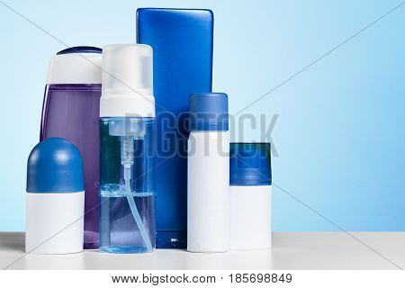 Bottle Bath Shampoo Soap Spa Toiletry on the table