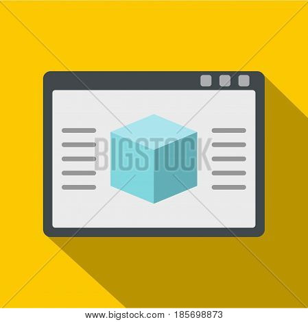 3d model icon. Flat illustration of 3d model vector icon for web on yellow background