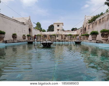 Yogyakarta Indonesia - September 15 2016: The Taman Sari Water Palace which is a site of a former royal garden of Sultan of Yogyakarta Java Island Indonesia.