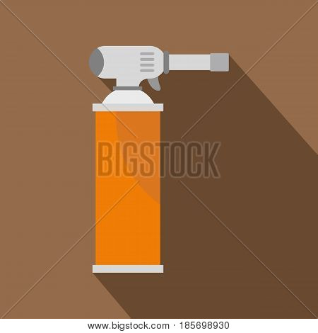 Orange gas cylinder icon. Flat illustration of orange gas cylinder vector icon for web on coffee background