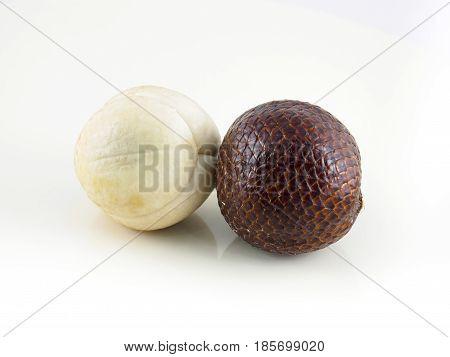 Indonesian salak fruit or snake fruit isolated on white background