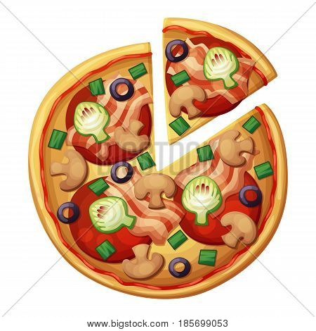 Pizza top view. Tomato, green sweet pepper, sausages or salami. Cartoon vector food illustration isolated on white background. American and Italian fast food pizza