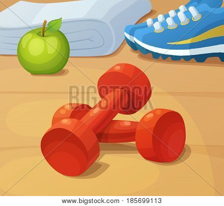 Dumbbells, trainers and green apple. Illustration of healthy lifestyle and sport. Cartoon vector illustration