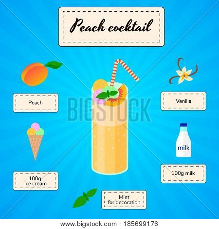 peach cocktail cocktail recipe vector ingredients with blue background