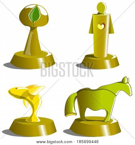 Gold statuettes for awarding outstanding personalities, protecting nature and people. Among the awards are a statuette dedicated to the struggle for the preservation of fish, trees and animals.