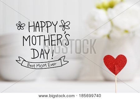 Mothers Day Message With Small Red Heart