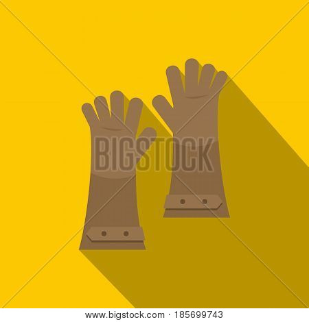 Heat resistant gloves for welding icon. Flat illustration of heat resistant gloves for welding vector icon for web on yellow background