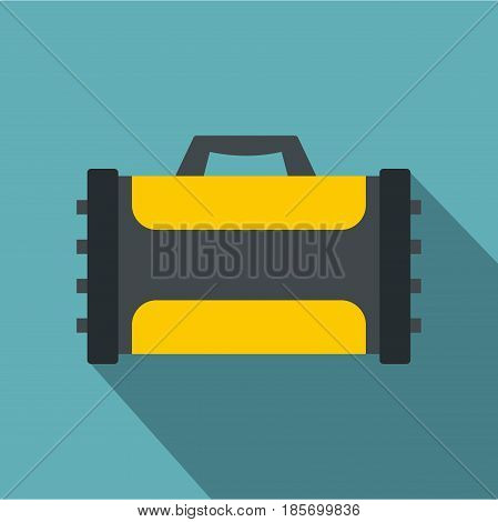 Welding machine icon. Flat illustration of welding machine vector icon for web on baby blue background