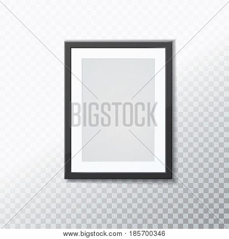 Stylish black photoframe with transparent shadow. Vector illustration
