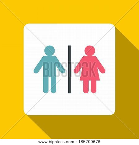 Male and female toilet sign icon. Flat illustration of male and female toilet sign vector icon for web