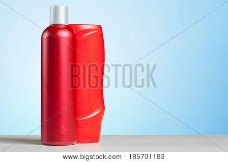Bottle Bath Shampoo Soap Spa Toiletry on the table