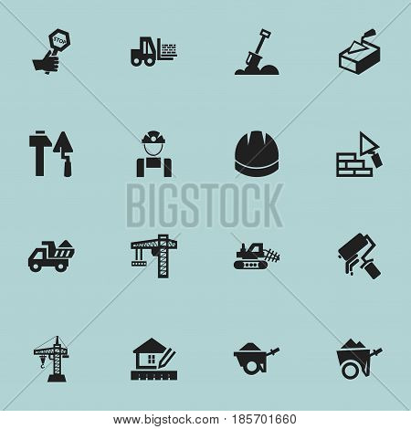 Set Of 16 Editable Construction Icons. Includes Symbols Such As Construction Tools, Trolley, Lifting Equipment And More. Can Be Used For Web, Mobile, UI And Infographic Design.