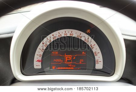 Car interior. Instruments on modern car dashboard.