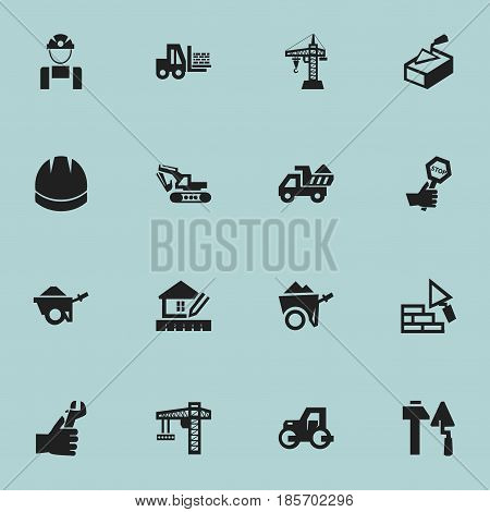 Set Of 16 Editable Construction Icons. Includes Symbols Such As Camion, Elevator, Spatula And More. Can Be Used For Web, Mobile, UI And Infographic Design.