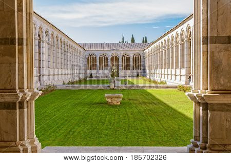 The courtyard of the Holy Field (Camposanto) on the Field of Miracles (Campo dei Miracoli) in Pisa, Tuscany, Italy