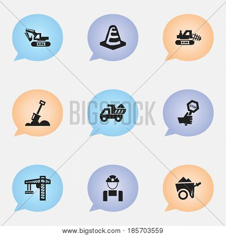Set Of 9 Editable Building Icons. Includes Symbols Such As Lifting Equipment, Mule, Oar And More. Can Be Used For Web, Mobile, UI And Infographic Design.