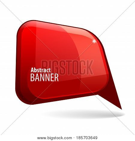 realistic Shiny gloss red banner. Vector illustration.