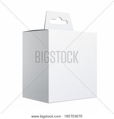 Realistic White Package Box. For gift electronic device and other products. Vector illustration.