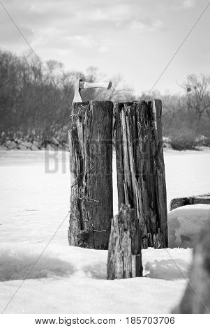 Old rotten wooden supports of the bridge