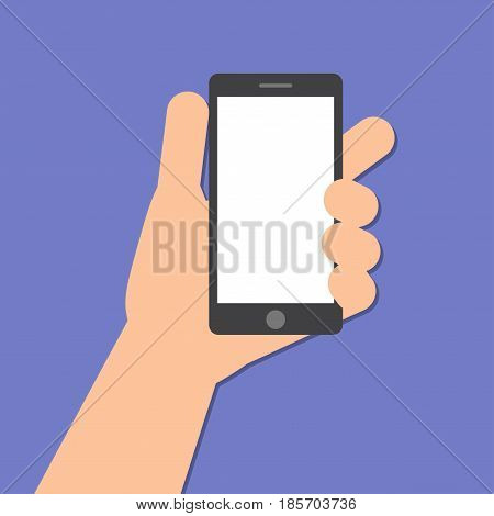 The left hand holds a smart phone in the vertical position. Application Template illustration of a smartphone. Vector icons emblem. Flat style