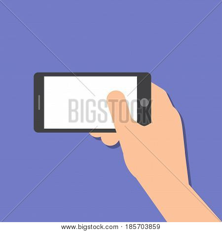 The right hand holds a smart phone in horizontal position. Application Template illustration of a smartphone. Vector icons emblem. Flat style