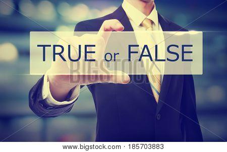 True Or False Text With Businessman