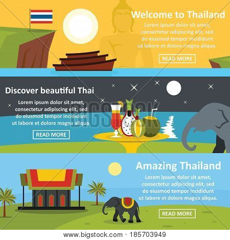 Thailand travel banner horizontal concept set. Flat illustration of 3 thailand travel vector banner horizontal concepts for web