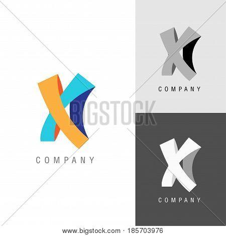 Logo design element. Letter symbol X. Vector illustration