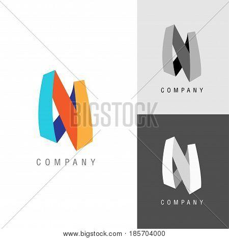 Logo design element. Letter symbol N. Vector illustration