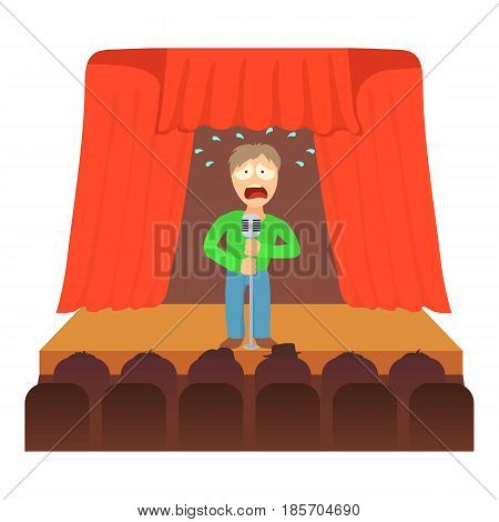 Glossophobia concept. Cartoon illustration of a man suffering from the fear of of public speaking