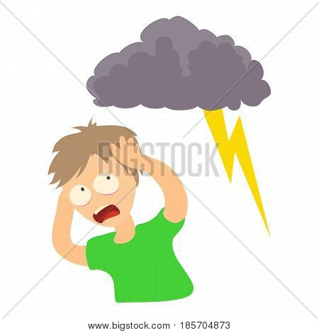 Brontophobia concept. Cartoon illustration of a man suffering from the fear of thunderstorm