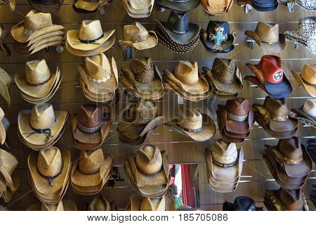 Cowboy hats sold at country store Tennessee