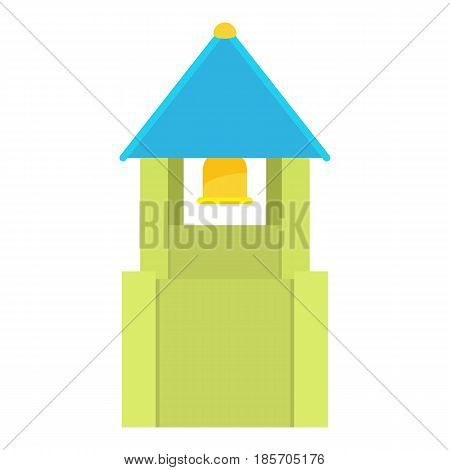 Green bell tower with blue bell roof icon. Cartoon illustration of green bell tower with blue bell roof vector icon for web