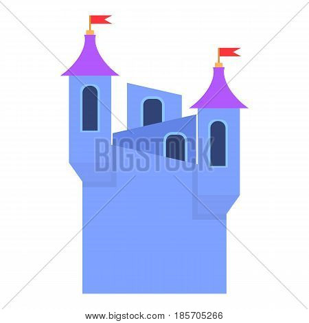 Blue castle towers with flags icon. Cartoon illustration of blue castle towers with flags vector icon for web