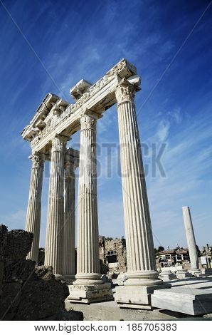 Temple of Apollo in Side Turkey. Antique monument in Turkey.